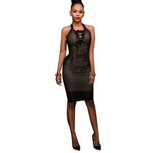 Sexy mesh lace up zipper sleeveless mini dress