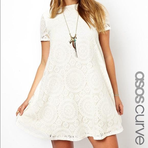 ASOS Curve Dresses | Cream Lace Swing Dress | Poshmark