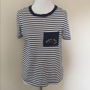 """""""Bonjour Baby"""" Striped Tee"""