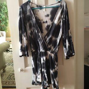 Sage Dresses & Skirts - FINAL PRICEDROP Sage Blue and White Tie Dye Romper