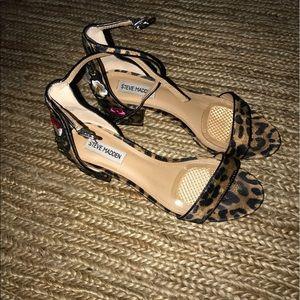 Steve Madden Inca Leopard Ankle Strap Heels