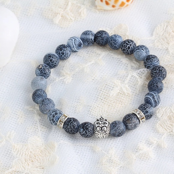 Men/'s Fashion Weathering agate silver Lion Beaded Cuff Charme Bangle Bracelets