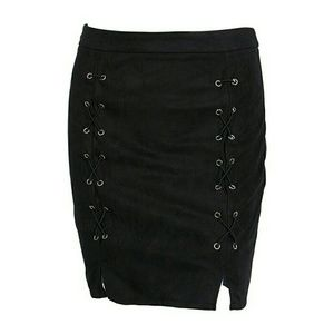 ae0df3e77 Skirts | Sexy Vegan Suede Leather Lace Up Black Mini Skirt | Poshmark