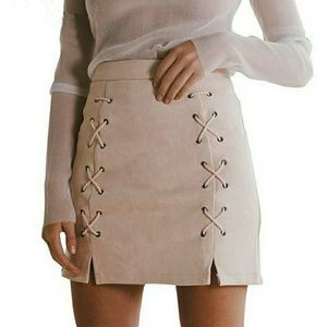 Dresses & Skirts - Vegan Suede Lace Up Mini Skirt Pink