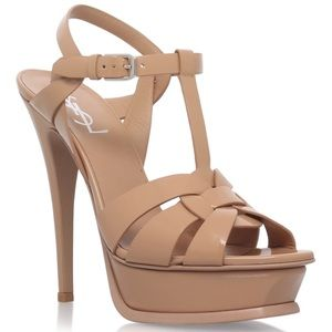 "Yves Saint Laurent Shoes - YSL ""Tribute"" heel- nude patent"