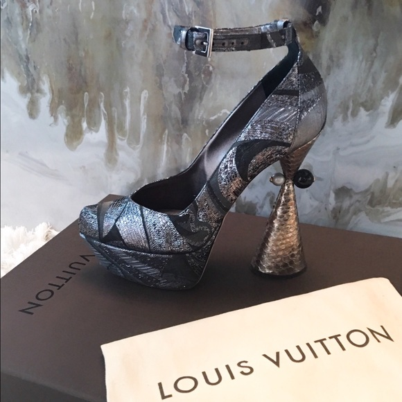 ca86a33ef8204 Louis Vuitton Shoes | Runway Cancan Brocade Heels 39 Rare | Poshmark