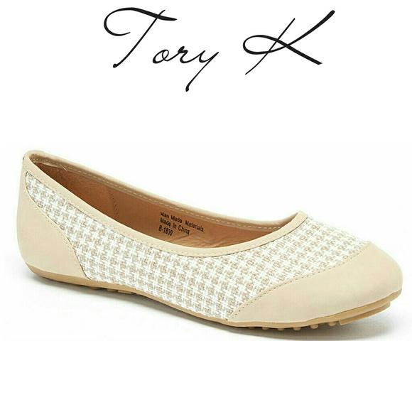 7fc737eed Tory K Shoes   Women Checkered Fabric Ballet Flats B1830 Beige ...