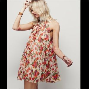 Free People Floral Pleated Mini Dress