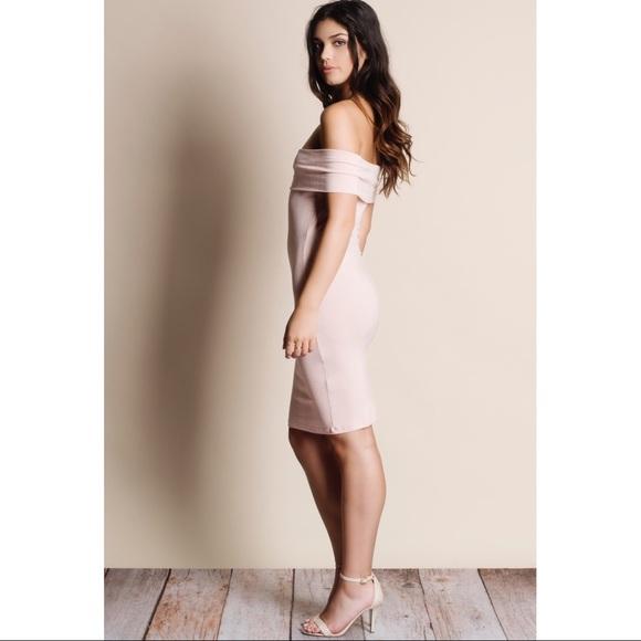 Bellanblue Dresses - AUSTIN off shoulder dress - BLUSH