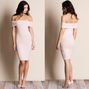 AUSTIN off shoulder dress - BLUSH