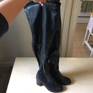 Shoes - Black Flax Leather Thigh High Boots