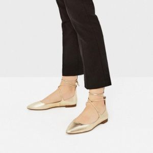 Zara gold lace up flats