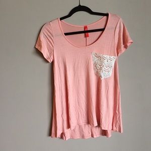 Tops - Flowy Peach Shirt with Lace Detail