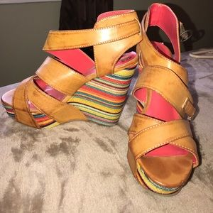 Shoes - NEVER WORN Adorable multi colored wedges