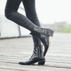 Zara Shoes Nwt Flat Leather Cowboy Ankle Boot Sz 37 65