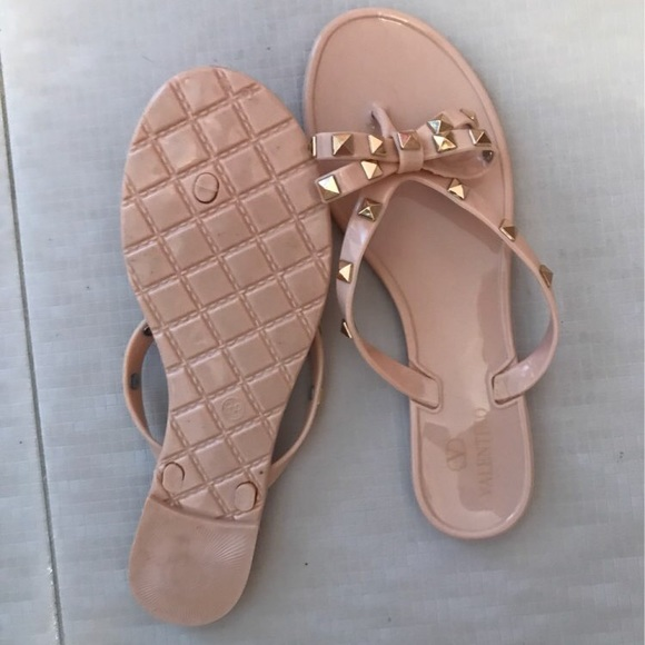 Valentino Rock Studded Jelly Flip Flops W Bow From