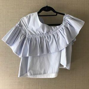 ZARA blue white stripe off the shoulder blouse