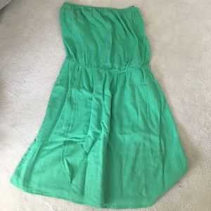 Green strapless sun dress