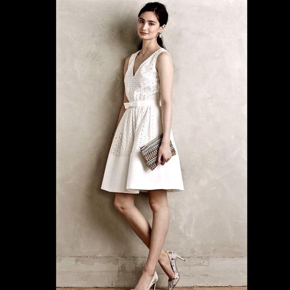 Anthropologie Dresses Eyelet Waist Bow Sleeveless Dress