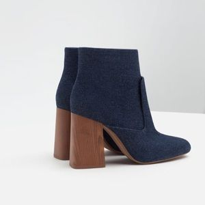 Zara Shoes - Zara High Block Heel Denim Ankle Boots NWT