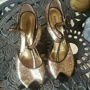 Kenzie glittered  open toe  wedges