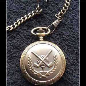GOLF THEMED POCKET WATCH & CHAIN
