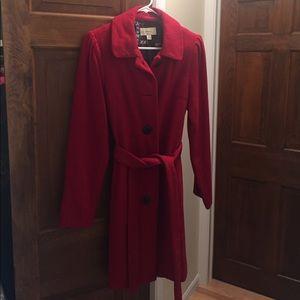Bright red wool long pea coat
