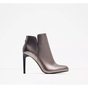 ZARA Leather Silver Grey Ankle Boots