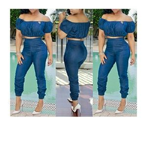 Other - Sexy two piece denim jumpsuit.