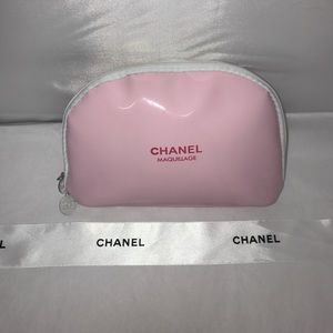 Chanel Pink Patent Leather Makeup Bag
