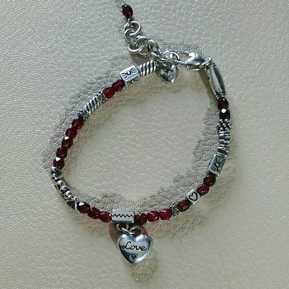 76 off brighton jewelry brighton red crystal silver