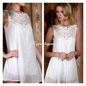 Goensshopping Dresses & Skirts - Bo-ho Chic Ivory Sheer Lacey Tunic Top Dress Mini