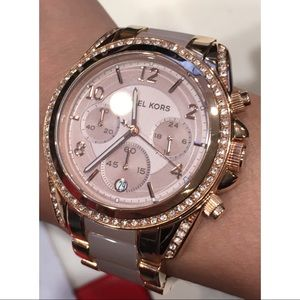 Rose Gold Tone Michael Kors Watch + Links&Orig Box
