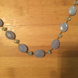Beautiful faceted aqua & blue Chalcedony necklace