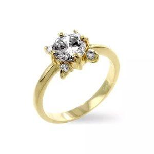 14k Gold Plated White Blossom Engagement Ring