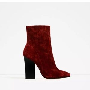 ZARA ANKLE BOOT ZIP RED WINE VELVET