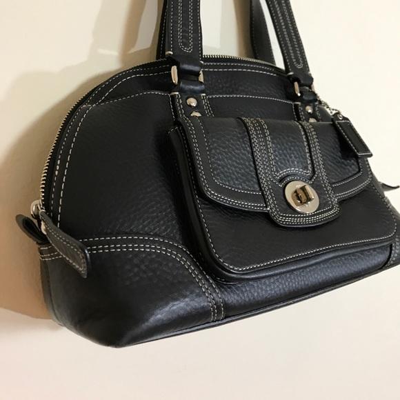 78 Off Coach Handbags Black Coach Handbag With White