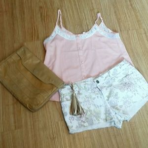 FOREVER 21 SOFT PINK LACE TANK TOP Sz. S/P