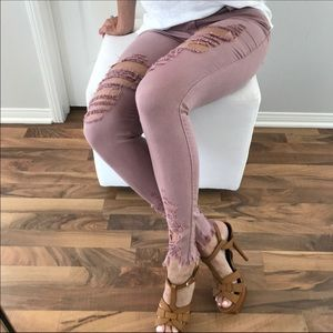 mrsalliexo Jeans - ✨Sale✨Reposh✨Dusty Rose distressed Jeans