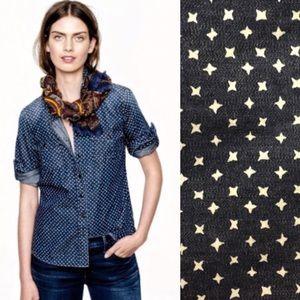 J CREW Keeper chambray shirt in star dot