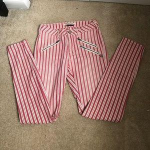Maison scotch skinny zipper striped jeans