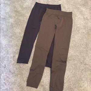 Pants - Brown and gray fleece lined leggings