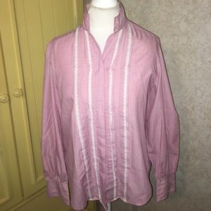 Foxcroft pink with lace button down shirt