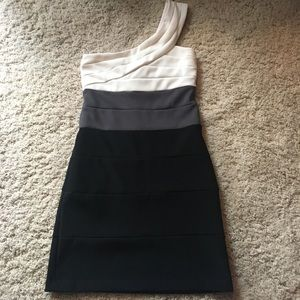 Trixxi Dresses & Skirts - Black and white mini dress with one shoulder strap