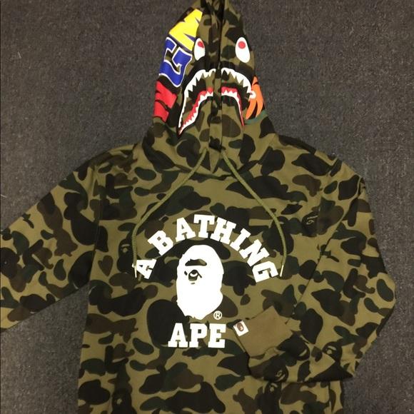 841b79f37 Bape Sweaters | Og 1st Camo Ape Headshark Pullover Hoodie | Poshmark
