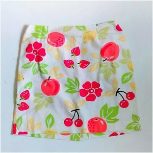 Talbots Skirts - White Denim Cherry Fruit Skirt