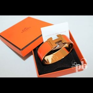 Hermes wide clic clac H Bangle orange and gold PM