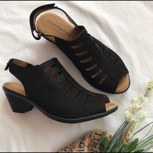 COMFORTIVA Black Suede Sandals