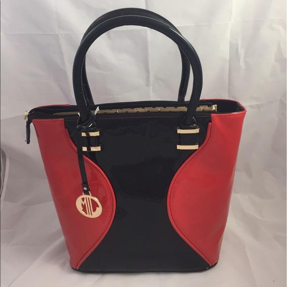 feb43ecc3596 Julia & Michael Handbags - Unique Shiny Red/Black/Gold Julia & Michael Bag