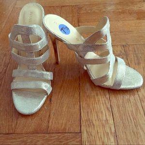 Ivanka Trump Shoes - Ivanka Trump Gold Open Toe Heels